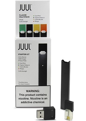 "Use of an e-cigarette is often called ""vaping"" or ""JUULing."""