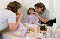 Supervise young children as they brush and teach them to spit out -not swallow - toothpaste.